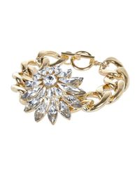 River Island | Metallic Gold Tone Clustered Gem Flower Bracelet | Lyst