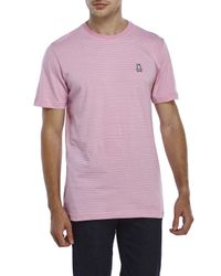 Psycho Bunny - Pink Micro Stripe Logo Tee for Men - Lyst
