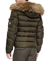 Moncler - Brown Byron Fur-Trim Hood Puffer Jacket for Men - Lyst
