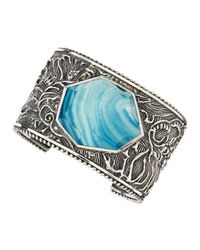 Stephen Dweck | Engraved Sterling Silver Blue Agate Cuff | Lyst