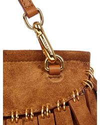 Burberry Prorsum - Brown Fringed Suede Clutch - Lyst