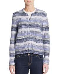 Joie - Blue Jacolyn B Striped Jacquard Jacket - Lyst