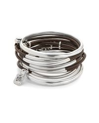 Uno De 50 | Metallic Bangle And Leather Layered Bracelet | Lyst