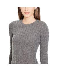 Ralph Lauren | Gray Cable-knit Sweater Dress | Lyst