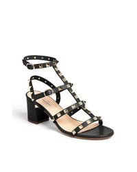 Valentino | Black 'rockstud' Sandal | Lyst