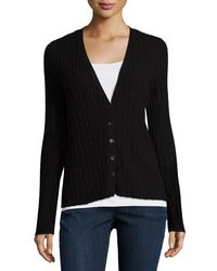Eileen Fisher - Black Fine Merino Ribbed Cardigan - Lyst