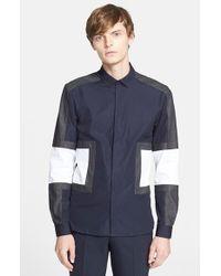Neil Barrett - Blue Trim Fit Colorblock Shirt for Men - Lyst
