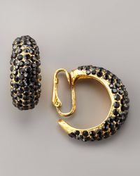 Jose & Maria Barrera - Black Pave Crystal Clip Earrings - Lyst