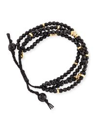 Tai - Faceted Black Agate Silk Cord Bracelet - Lyst