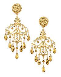 Jose & Maria Barrera | Metallic 24K Gold Plated Filigree Chandelier Earrings | Lyst