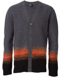 McQ - Gray Ombré Stripe Cardigan for Men - Lyst