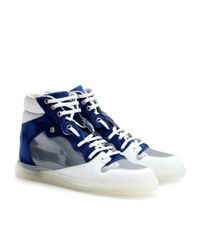 Balenciaga | Blue Leather and Suede Hightops | Lyst