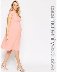ASOS | Pink Midi Skater Dress In Chiffon | Lyst