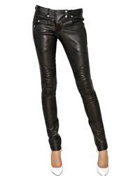 Balmain | Black Leather Stretch Biker Trousers | Lyst