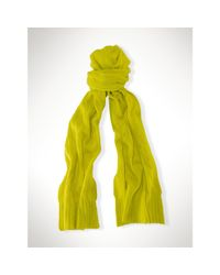 Polo Ralph Lauren   Yellow Classic Cabled Cashmere Scarf   Lyst