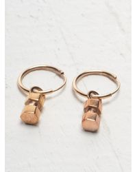 Lily Kamper - Pink Hexagon Mini Block Hoop Earring In Rose Gold - Lyst