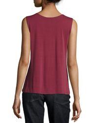 Eileen Fisher - Purple Silk-jersey Tank Top - Lyst