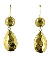 Lord & Taylor | Metallic 14 Kt. Yellow Gold Faceted Teardrop And Ball Earrings | Lyst