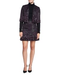 MILLY - Blue Couture Tweed Fringe Skirt - Lyst