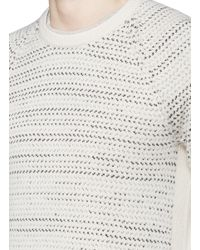 Rag & Bone | White 'justin' Birdseye Stripe Cashmere Sweater for Men | Lyst