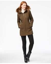 Calvin Klein | Natural Faux-fur-trim Hooded Softshell Jacket | Lyst