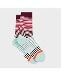 Paul Smith | Women's Red And Mint Green 'mainline Stripe' Socks | Lyst
