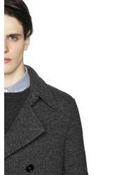 Z Zegna - Gray Boiled Wool Jersey Peacoat for Men - Lyst