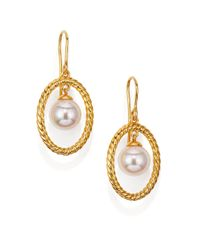 Majorica - Metallic 10mm White Pearl Rope Oval Drop Earrings/goldtone - Lyst