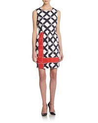 RED Valentino - Black Trellis-Print Sheath Dress - Lyst