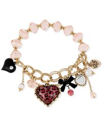 Betsey Johnson | Multicolor Gold-Tone Pink Leopard Heart Charm Stretch Bracelet | Lyst