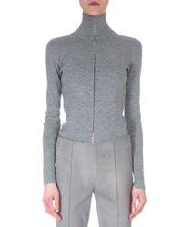 Akris - Gray Sheer-seam Cashmere-blend Top - Lyst