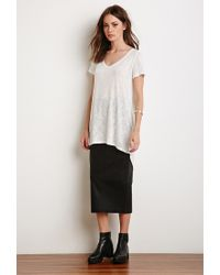 Forever 21 - White Textured Longline Tee - Lyst