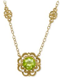 Macy's - Metallic Peridot (1 Ct. T.w.) And Diamond Accent Floral Pendant Necklace In 14k Gold - Lyst