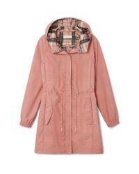 Tory Burch | Pink Anorak With Plaid Lining | Lyst