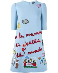 Dolce & Gabbana - Blue Children's Drawing Appliqué Dress - Lyst