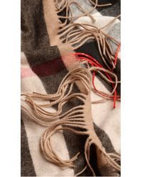 Burberry - Brown The Fringe Scarf In Check Cashmere - Lyst