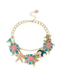Betsey Johnson | Metallic Goldtone Blue and Coral Stone Sea Life Frontal Necklace | Lyst