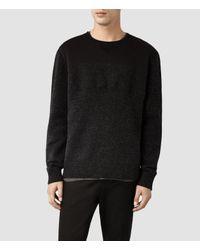 AllSaints - Black Bracton Crew Sweater for Men - Lyst