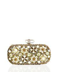 Marchesa - Metallic Lily Enamel & Crystal Embroidered Clutch Bag - Lyst