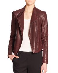 VINCE | Purple Leather Moto Jacket | Lyst