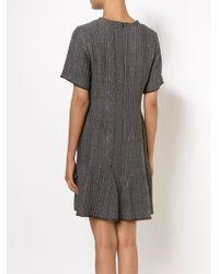 Sea - Gray Ruffle-Hem Wool-Blend Dress - Lyst