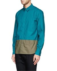 Paul Smith - Green Colourblock Poplin Shirt for Men - Lyst