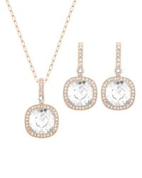 Swarovski | Pink Below Rose Goldtone And Crystal Necklace And Earrings Set | Lyst