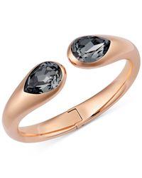Swarovski | Metallic Rose Gold-tone Black Crystal Open Bangle Bracelet | Lyst