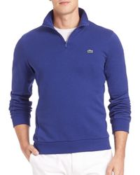 Lacoste | Blue Quarter-zip Fleece Sweatshirt for Men | Lyst