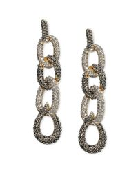 INC International Concepts | Metallic Goldtone Hematite and Black Diamond Pave Link Linear Earrings | Lyst