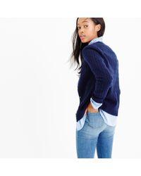 J.Crew - Blue Cambridge Cable Cardigan Sweater - Lyst