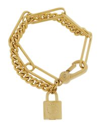 Marc By Marc Jacobs | Metallic Locked Up Gold-Tone Cubic Zirconia Bracelet | Lyst