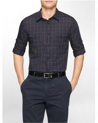 Calvin Klein - Black White Label Classic Fit Medium Plaid Roll-up Sleeve Shirt for Men - Lyst