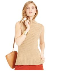 Vince Camuto | Natural Mock-neck Bobble-stitch Sweater | Lyst